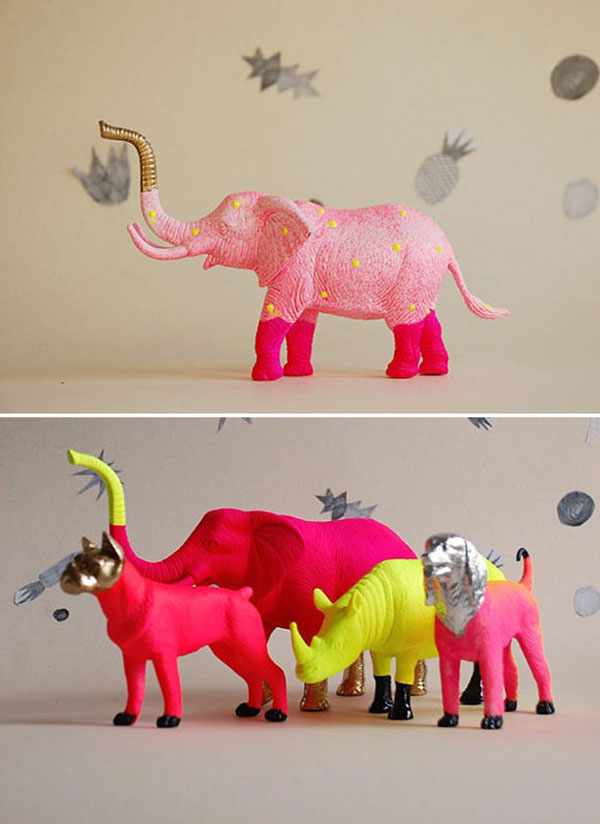 Neon_gold_painted_animals