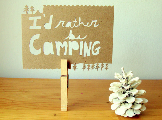 I'd rather be camping Papercut Postcard - natural kraft