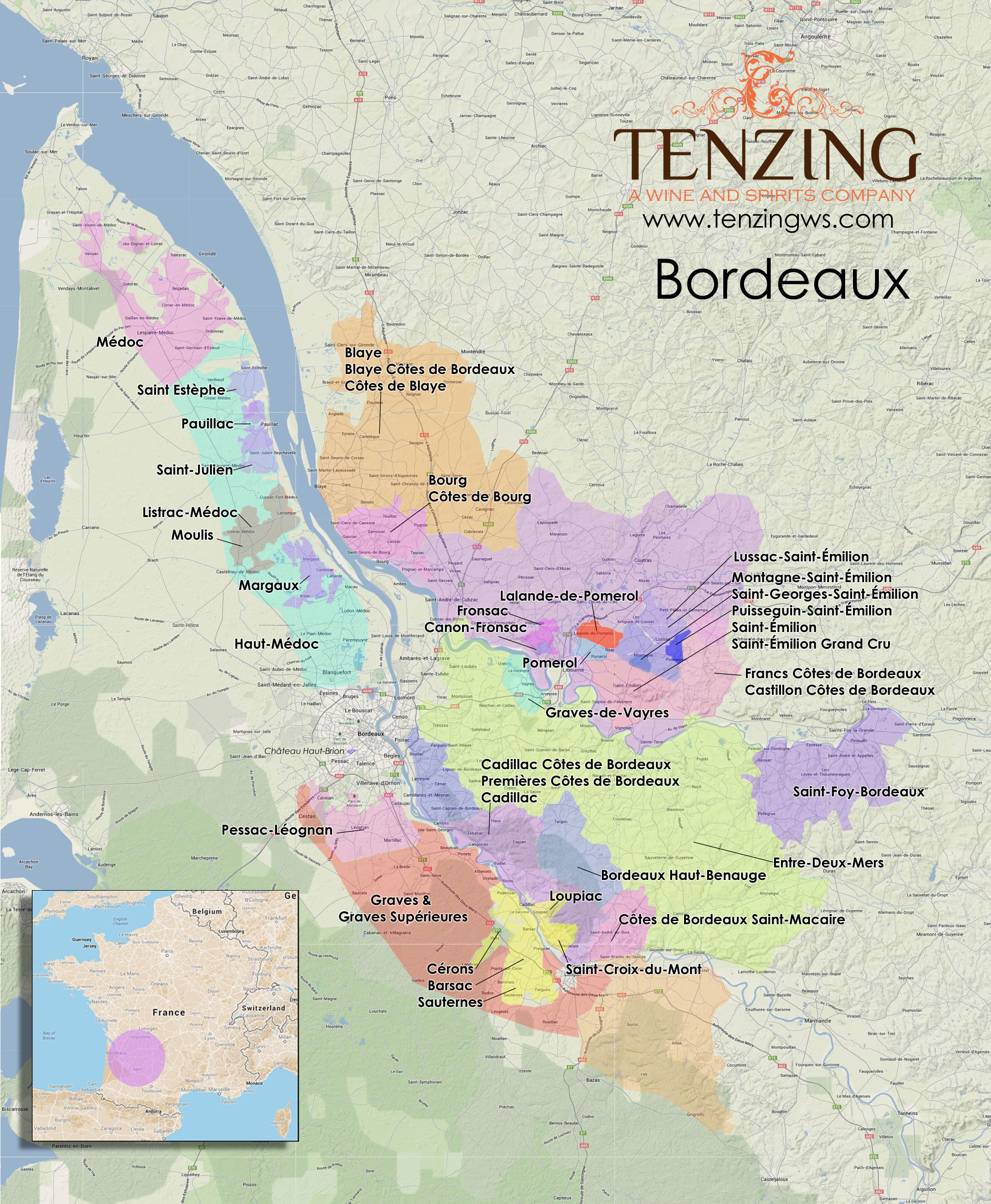 MAP Bordeaux in high res with every appellation contrle
