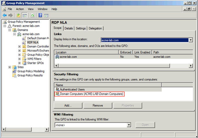 Configuring Network Level Authentication for RDP