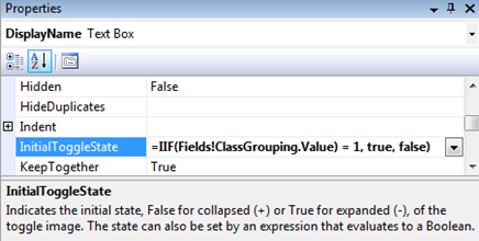Visibility Settings in SSRS: Drill Down to Show/Hide Report Data