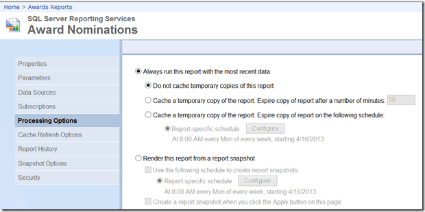 SSRS Report Execution Snapshot vs  a Report History Snapshot