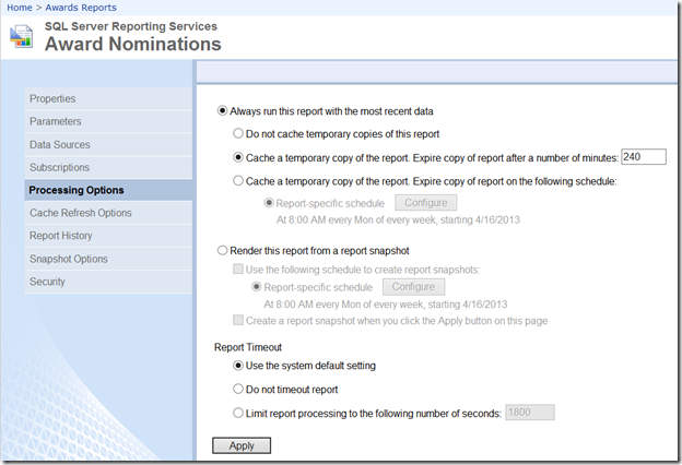 SSRS Report Execution Snapshot vs  a Report History